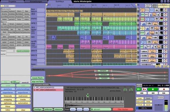 Die Edit-Page von Tracktion 3