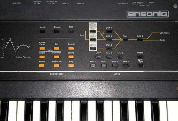 Bedienungsfeld für Klangsynthese und Sequenzer des ESQ-1
