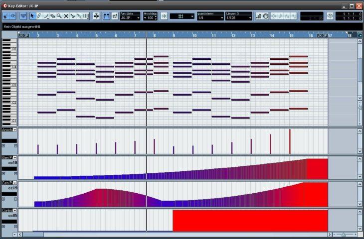 Sequenz mit Velocity, Controller 18 Resonanz, Controller 19 Eckfrequenz. Controller 85 schaltet den Chorus ein.