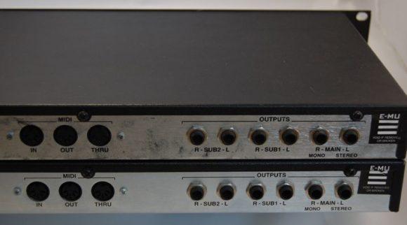 die Rückseite bietet nur Normalkost: MIDI-Trio und drei Ausgangspaare