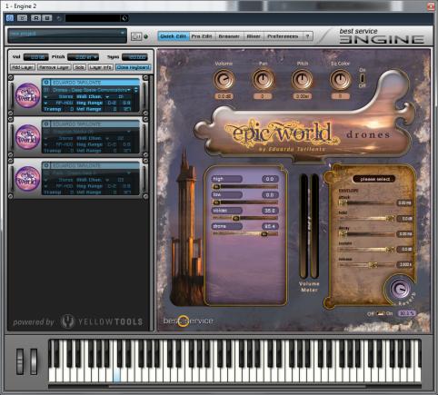 - Über die QuckEdit-Seite des Sample-Players können die einzelnen Layer eines Drone-Sounds ein- und ausgeblendet werden -