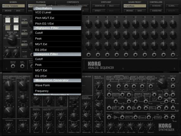 Korg iMS-20 Hauptseite und Modulations-Ziele des Sequenzers