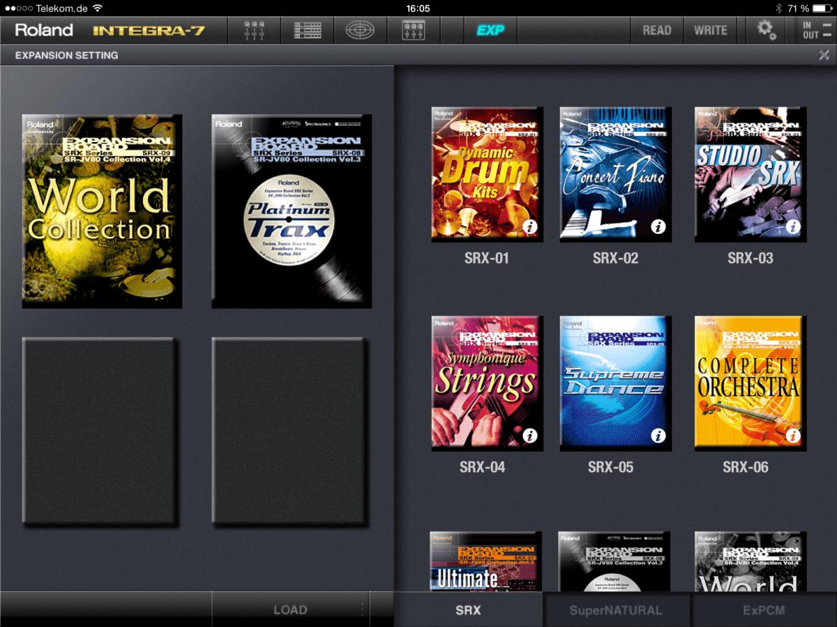 Der SRX-Soundboard-Loader im iPad App