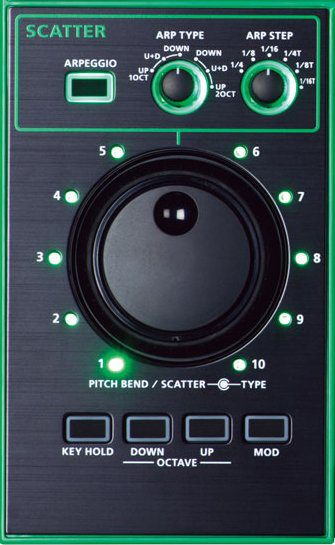 In der Scatter-Sektion sind Pitch Bender und Arpeggiator vereint.
