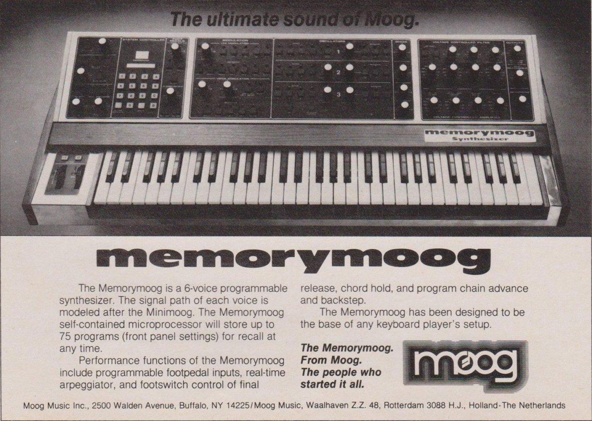 So wurde der Memorymoog in den 80ern beworben