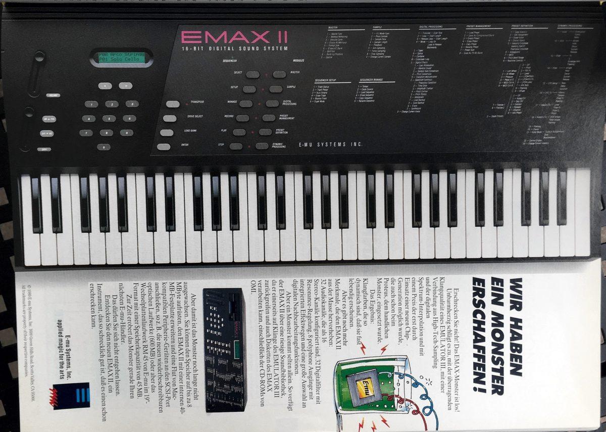Original Emax II Anzeige von 1990