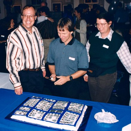 "1997, Dave, Scott Wedge and Paula Butler at 25th anniversary of E-MU. What looks like a pillow is a ""modular"" cake."