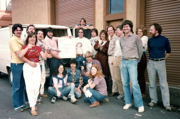 The E-mu Team shortly before the presentation of the Drumulator (1983).