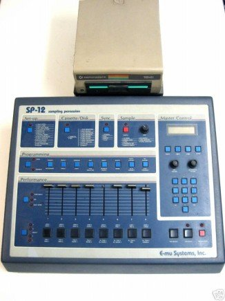 E-MU SP-12 with Commodore C64 drive (1985 to '87): 12 Bit Samples at 27 kHz, 48 kByte memory