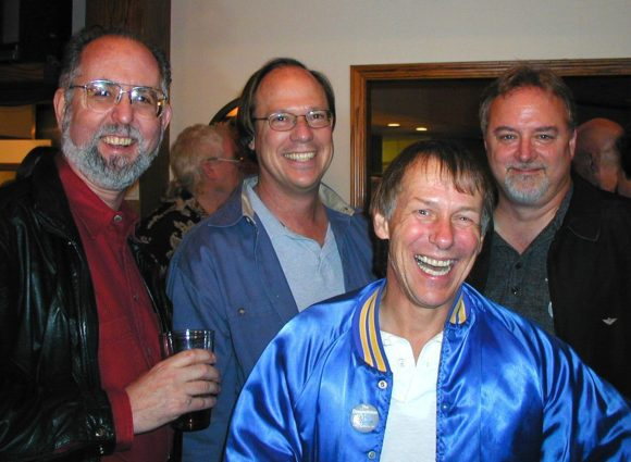 Left to right, Marco Alpert, Scott Wedge, me, and Ed Rudnick at E-mu's 30th anniversary party in 2002.