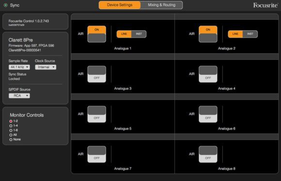 Focusrite Control Device Settings