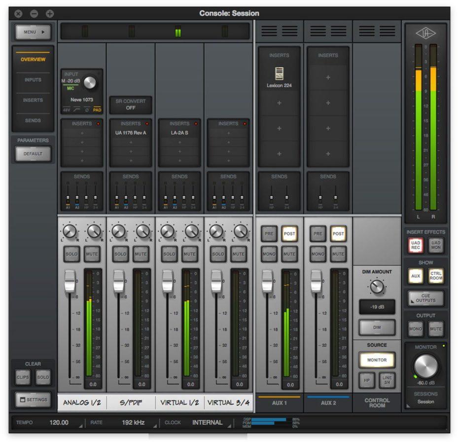 Console, der UAD Mixer