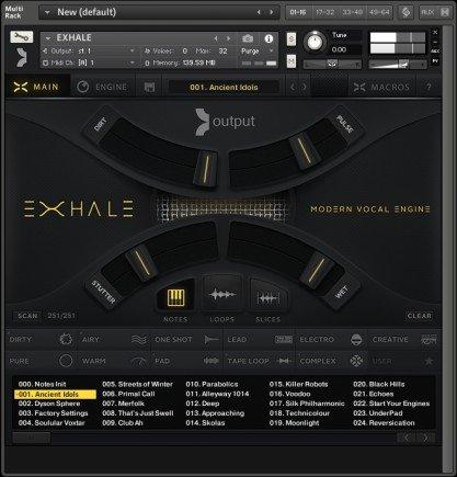 Das User Interface von Exhale ist auf den ersten Blick sehr übersichtlich gestaltet. Zugriff auf alle Soundbearbeitungsmöglichkeiten befinden sich in einem Untermenü.