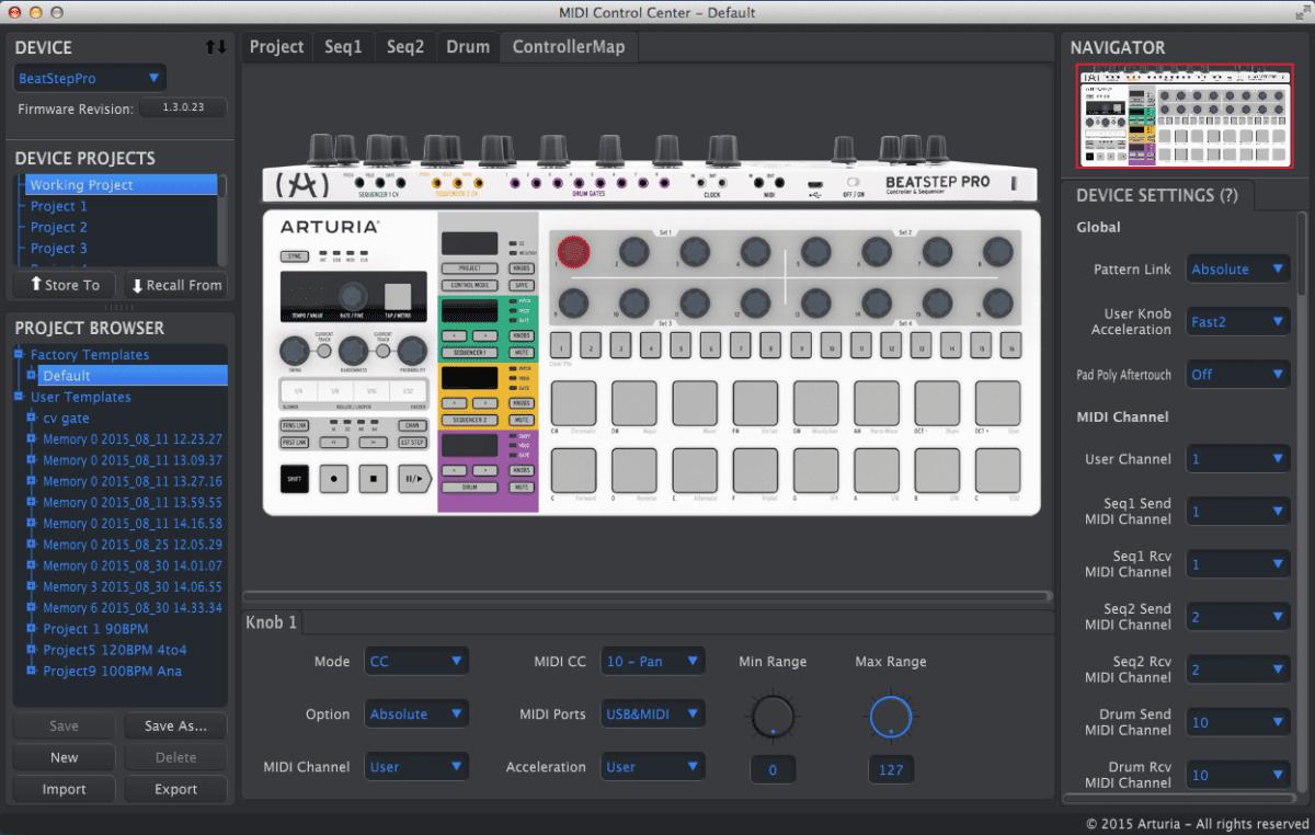 Optisch hat sich das MIDI Control Center nicht verändert.