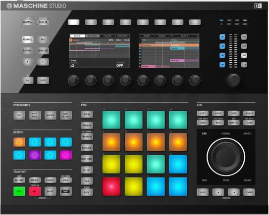 Die NI Maschine Studio steht in Konkurrenz zur MPC Serie.