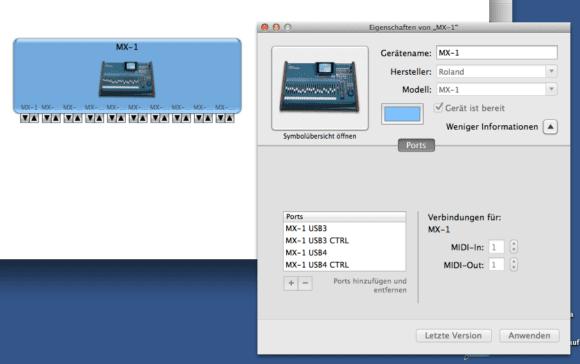 So meldet sich der Roland MX-1 am MAC an.