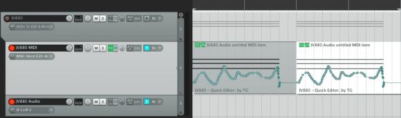 FX-Automation gibt es nun auch auf Item-Basis. Hier wird ein JV-880 über einen MIDI-Clip und SysEx gesteuert.