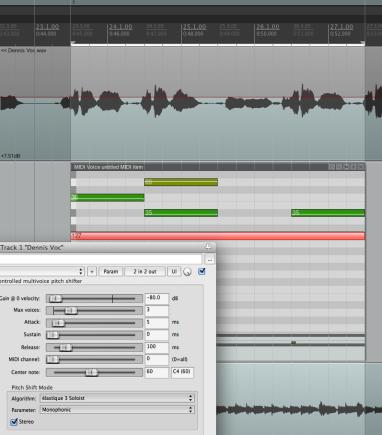 Harmonisierung eines Vocal TRacks mit dem ReaVoice-PlugIn und Inline Editing