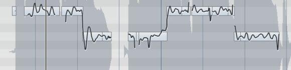 Sehr schön zu sehen: Die (fast) durchgezogene, schwarze Linie symbolisiert die reale Tonhöhe. Das Vibrato ist hier sehr deutlich sichtbar.