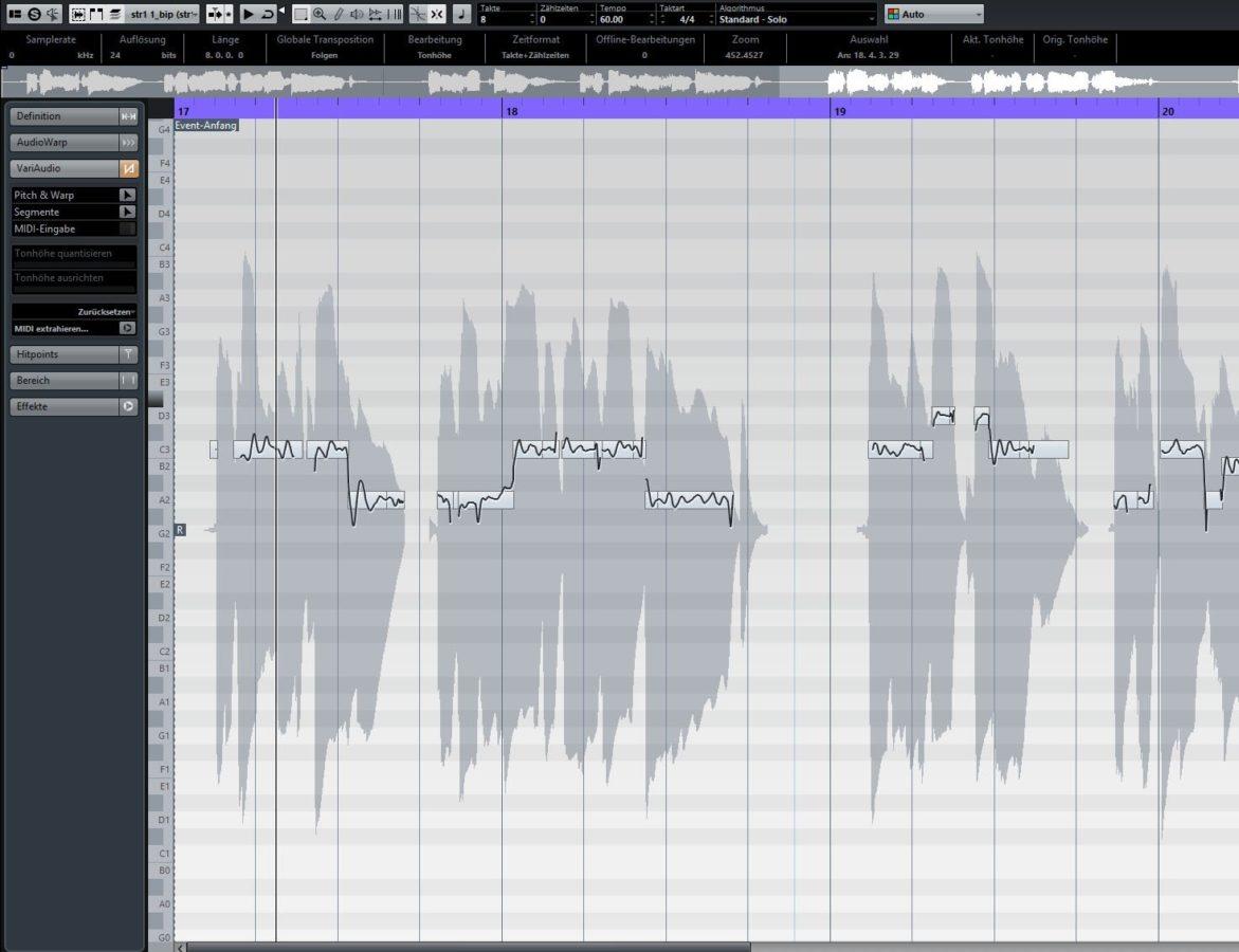 Ist Melodyne etwas ähnlich: Das VariAudio-Feature in Cubase.