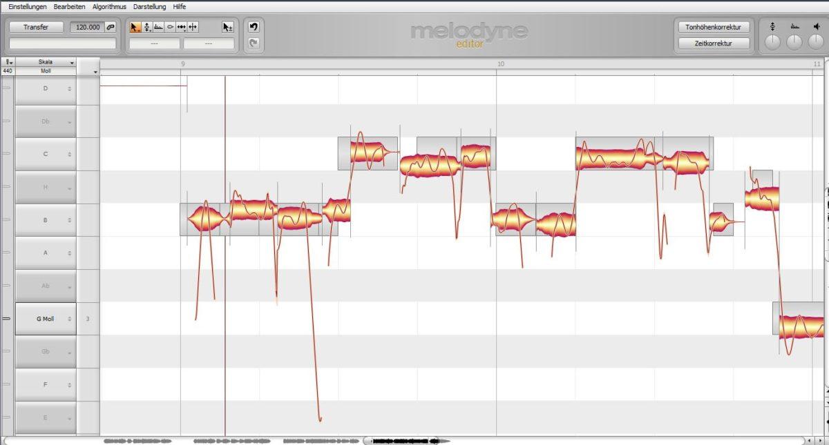 Melodyne erlaubt gezieltes Arbeiten an einzelnen Tönen.