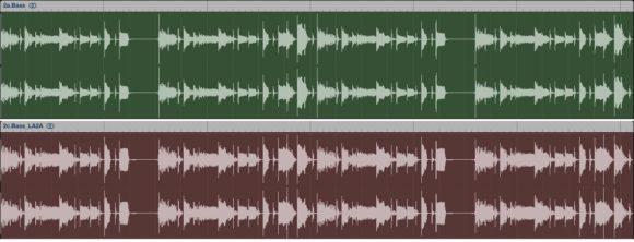 Slapbass, oben Original, unten Teletronix
