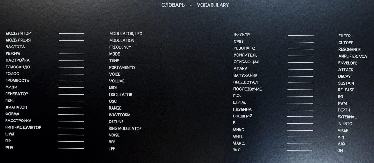 Polivoks Vocabular