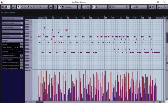 """Die MIDI-Daten des Audiodemos mit dem Sequential Six mit Velocity aus dem Zufallsgenerator und Variation des Parameters """"gate length"""""""