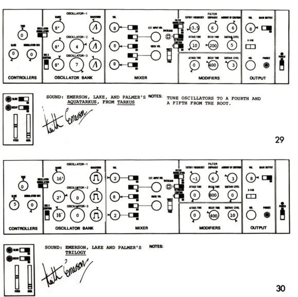 Keith Emerson Minimoog Patch Charts