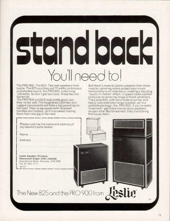 Schwergewicht: Rotierende Lautsprecher im großvolumigen Gehäuse, eingebauter Verstärker. Werbung aus den Anfangstagen der Rotary Speaker Cabinets von Leslie.