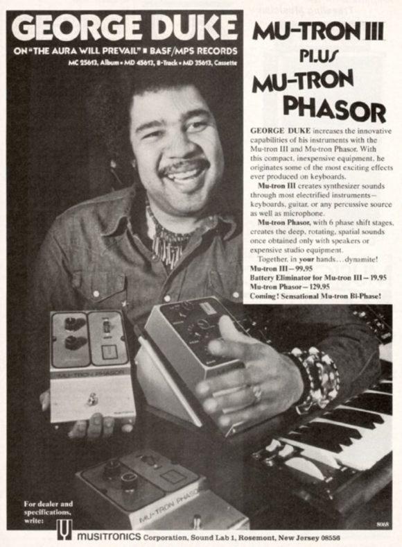 Mutron Phasor Werbung mit George Duke aus dem Jahr 1975