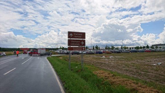 In Treppendorf angekommen: Parkplatz suchen