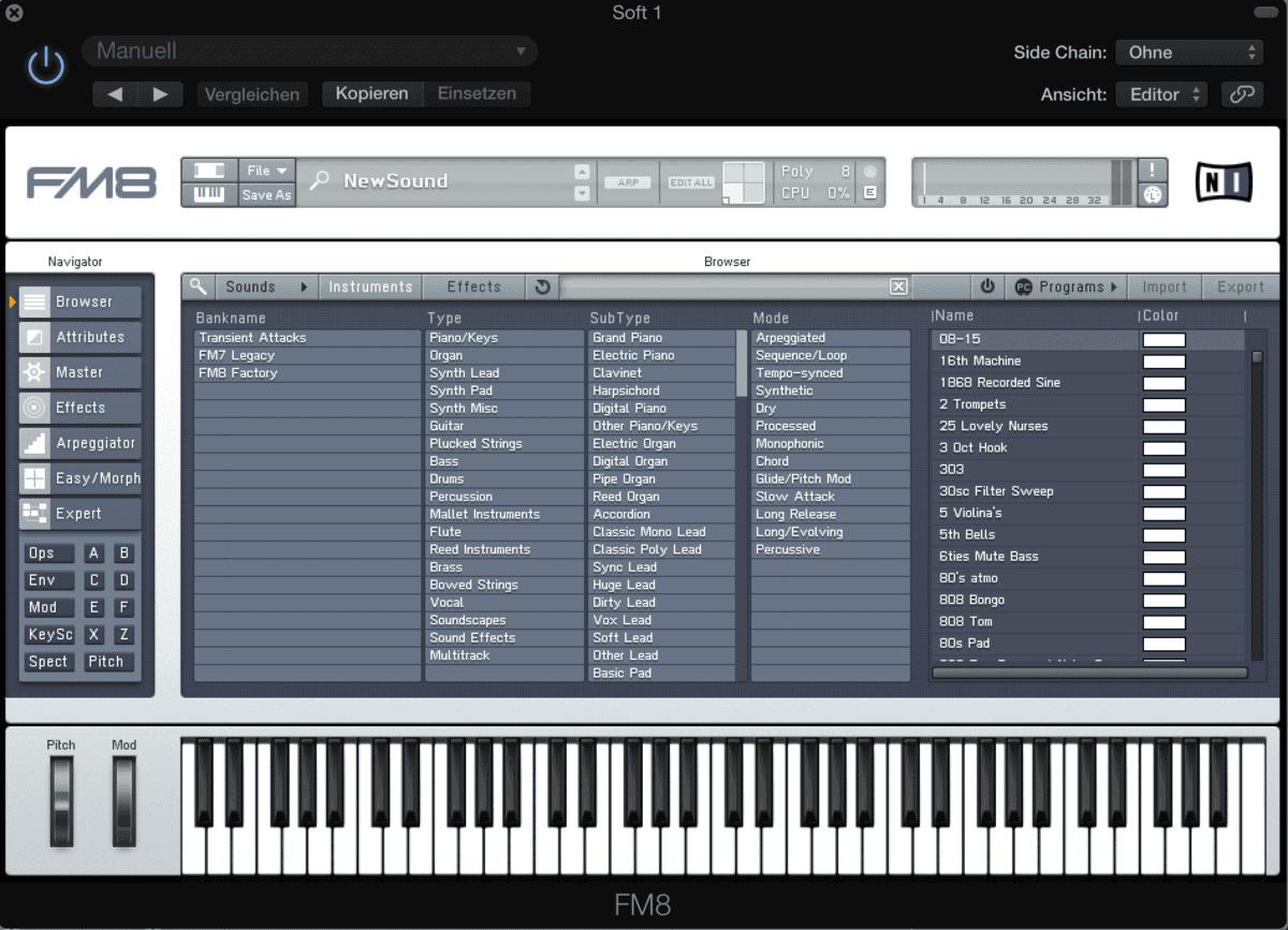 Mit dem FM8 hat NI einen hervorragenden FM-Synthesizer im Set