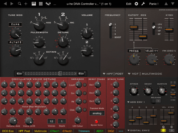 U-He-Diva-Controller im iPad-Look