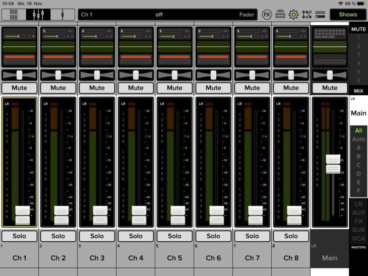 Mackie-DL16S-Stagebox-Mischpult-Fader