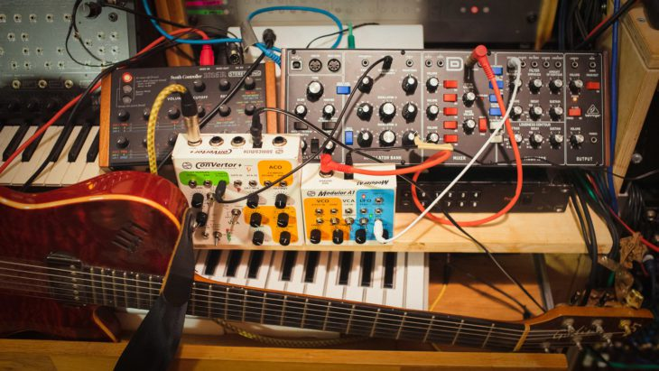 Volcarock Studio Setup: Sonicsmith Converter+ , A1 Modulor, Behringer Model D, Godin LGX-SA