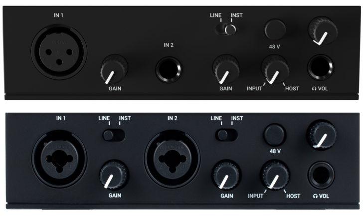 Die Fronseiten von Komplete Audio 1 (oben) und 2 (unten) im Vergleich