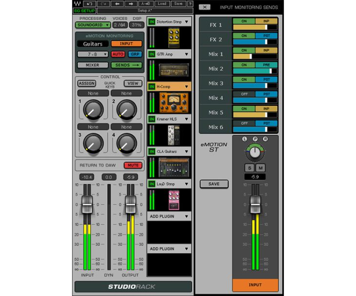 Waves SoundGrid - studiorack-sends
