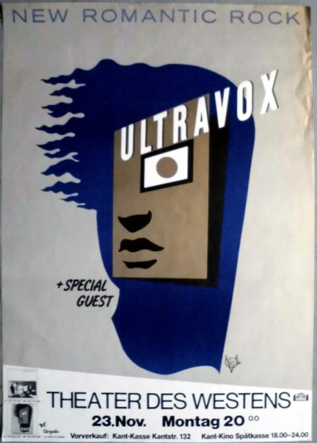Das Plakat zum Ultravox-Konzert iim Theater des Westen im Rahmen der Rage in Eden-Tour