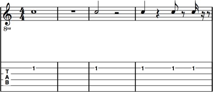 Notensystem mit Ganzer-, Halber-, Viertel-, Achtel- und Sechzehntelnote