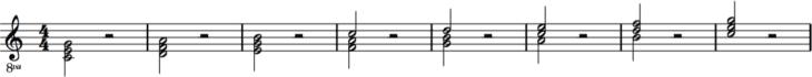 Dreiklänge über der C-Dur Tonleiter