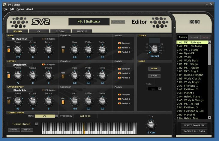 Korg SV-2 Stage Vintage Piano Editor