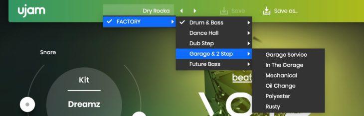 Beatmaker VOID Presets pop up menu bar