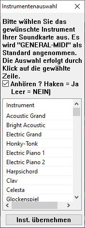 Instrumentenauswahl