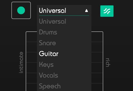 Sonible smart:reverb Scan Button mit Presets