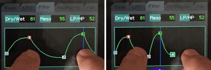 Zweifingertechnik des Smartphones am Touchscreen