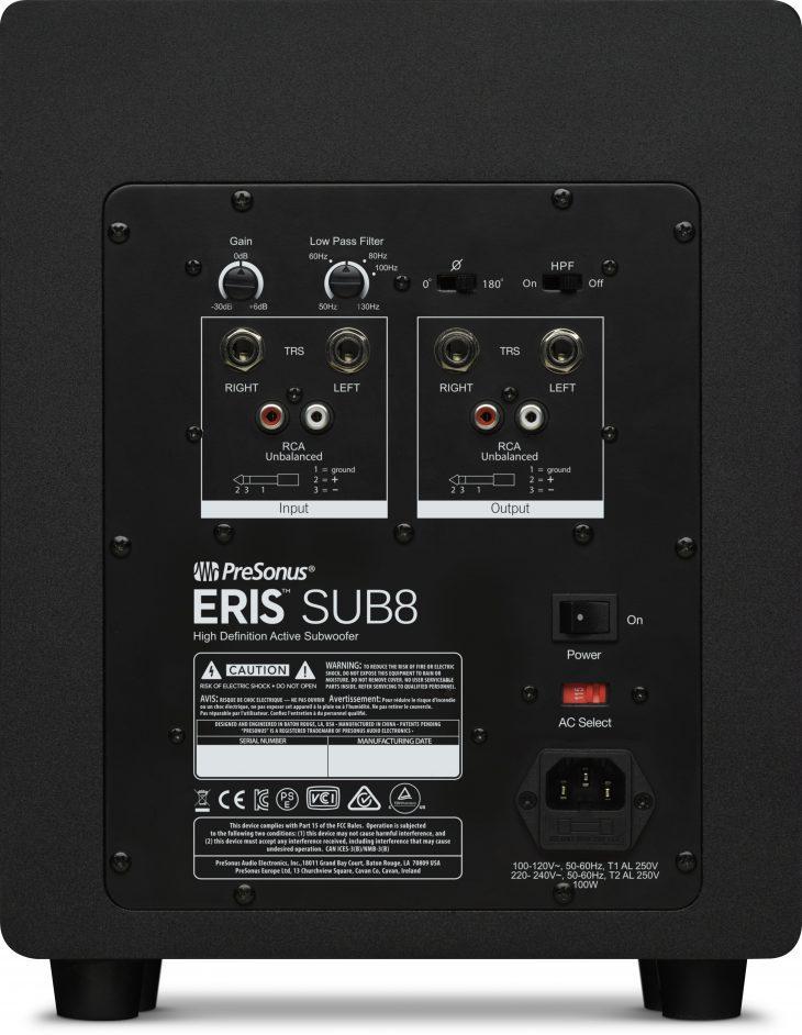 PreSonus Eris Sub8 Rückseite