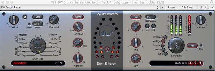Nicht ganz schnörkellos aber übersichtlich - Audified DW Drum Enhancer