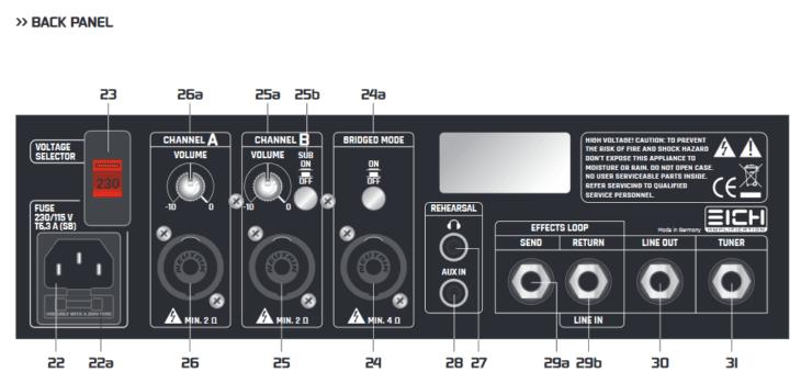 Eich Amplification T1000 rear