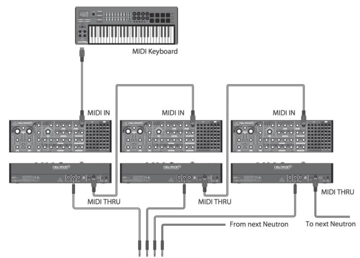 Auch Poly-Chaining ist möglich, entweder über die Audio-Inputs, oder wie in der Abbildung über Einzelausgänge